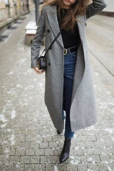 Long Grey Double Breasted Wool Coat