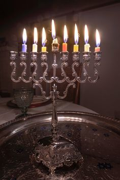 Thanksgivukkah Day 7 -The Chanukiah by Candlelight by Wayne Wong on Capture Kern County // For the seventh day I focused on the shape, texture and form of the Chanukiah, which includes the base, stand, and candle holders.