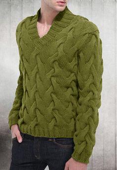 Men's Hand Knitted V-Neck Sweater 3B