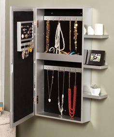 Wall-Mount Jewelry Armoire- also a full length mirror which i need in my room Wall Mounted Jewelry Armoire, Jewelry Cabinet, Hanging Jewelry, Wall Mounted Tv, Jewelry Displays, Jewellery Storage, Jewelry Organization, Jewelry Box, Jewlery