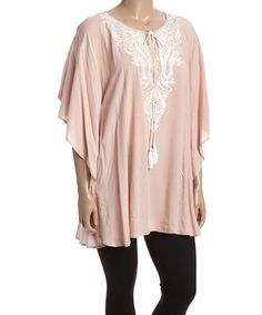 Look at this #zulilyfind! Dusty Rose & White Embroidered Dolman Tunic - Plus by Simply Irresistible #zulilyfinds