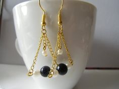 Gold chain with dark blue shining beads and pearl cute simple dangle earrings.everyday earrings