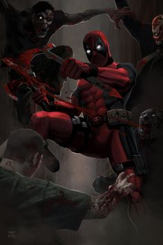 Marvel Comics Deadpool and zombies. Marvel Comics, Marvel Comic Books, Marvel Vs, Comic Book Characters, Marvel Characters, Comic Books Art, Deadpool Fan Art, Lady Deadpool, Superman
