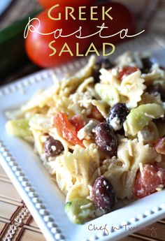 Salad - Greek Pasta Salad! -   1 box bowtie pasta  2 medium cucumbers sliced and quartered    4 Roma Tomatoes diced into large pieces  3/4 cup Kalamata Olives  1 cup fresh Parmesan shredded  1 cup feta crumbled  2 cups Italian dressing more or less depending on your taste  INSTRUCTIONS -  Cook bow tie pasta as directed on the box.  Toss all ingredients together. This salad can be served warm or cold and adding chicken would also be a fabulous idea!
