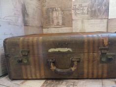 Vintage 1920's Tweed Striped Suitcase - http://oleantravel.com/vintage-1920s-tweed-striped-suitcase