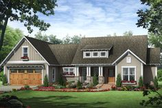 HOUSE PLAN 348-00215 - This Craftsman design is a quintessential All-American home with a classic exterior and spacious interior. The floor plan is open, features a split bedroom layout and approximately 1,818 square feet of living space.