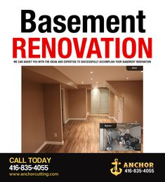 Contact AnchorCutting - well known name in basement renovation services in Brampton, Mississauga, Milton and Oakville. Basement Renovations, Ideas, Home Decor, Decoration Home, Room Decor, Interior Decorating, Thoughts
