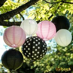 Pink white and black paper lantern set of 7 Minnie Mouse birthday party theme, bridal shower decoration, 1st birthday party, girls party ideas decor