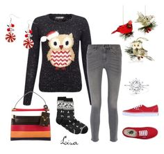 """""""Owls for Christmas"""" by coolmommy44 ❤ liked on Polyvore featuring Lipsy, Holiday Lane, Valentino, Charter Club, MiH Jeans and Vans"""