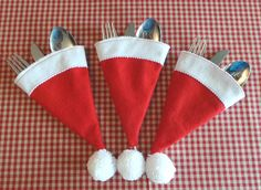 santa claus hat, christmas lunch, cutlery holder,