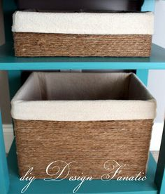 Transform cardboard boxes into baskets by simply wrapping with twine.