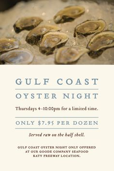 Join us for our Thursday Night Oyster deals at our Seafood Katy Freeway location.