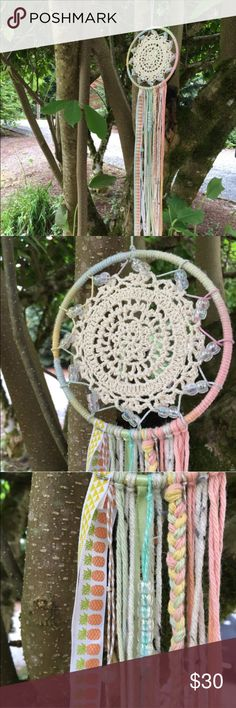 "Summer Pastel Dreamcatcher *handmade Inspired by the lighthearted summer fun, this dreamcatcher features multiple textures, yarns, crotchet fabrics, pineapple printed ribbon, and Glow-in-the-dark beads!  Medium: 5.25"" W x 26"" L x .25"" D  Dreamcatchers make memorable gifts for loved ones and can be used in many different ways including home or party decor, wedding decorations, in a nursery, bedroom, etc. *Custom orders are accepted by request. Free People Other"