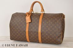 Louis Vuitton Monogram Keepall 55 Bandouliere Travel Bag M41414