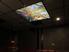 At meeting, a light trough LED scenery ceiling, making feel comfortable..