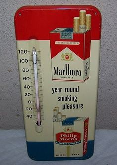 Marlboro Vintage Thermometer (1950 Philip Morris Commander, Year Round Smoking Pleasure, King Size Tobacco, Cigarettes Advertising Antique Thermometers)