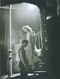 With Kim Hunter in A Streetcar Named Desire (1951)
