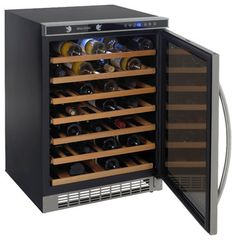 54 Bottle, Built-In or Free-Standing Wine Cooler, stainless steel frame w/ mirro traditional-wine-and-beer-refrigeration