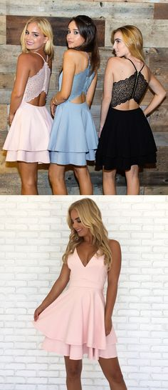 short tiered homecoming party dresses, simple fashion party dresses with special back, semi formal dresses.