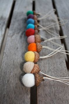 felt balls acorn ornament set of 10 Assorted colors by HoneyCanada, $20.00