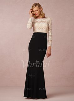 Mother of the Bride Dresses - $114.20 - Trumpet/Mermaid Scoop Neck Floor-Length Chiffon Lace Mother of the Bride Dress (0085058634)