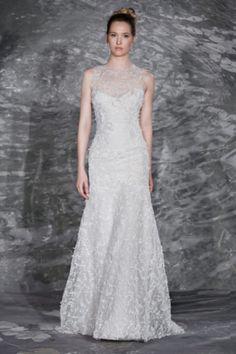 Beautiful Jenny Lee wedding dress: http://www.stylemepretty.com/2014/10/25/14-incredible-illusion-neckline-wedding-dresses/ #SMPLookBook