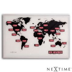 """The NeXtime """" World Time Digit"""" is a world time clock made of glass. The wall clock is a digital LED clock which shows the time of 22 different. Time Zone Clocks, Time Clock, World Clock, Led Wall Clock, Glass And Aluminium, White Clocks, Clock Display, Cool Clocks, Daylight Savings Time"""