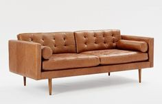 Monroe Mid-Century leather sofa, $2,499 from West Elm.