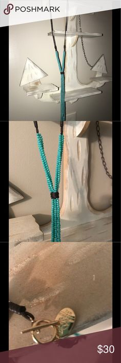 Gorgeous brown leather and turquoise necklace💓NWT Brand new. Gorgeous brown leather and turquoise  beaded necklace💓NWT Jewelry Necklaces
