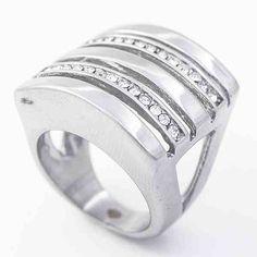 Joyas de Acero-Anillos-RA0823. Anillo acero y circones, diseño moderno y vanguardista