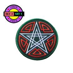 Double Pentagram Star Embroidered Iron On Patch Heat Seal Applique Sew On Patches