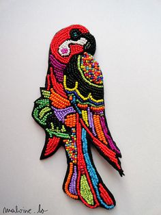 Parrot jewelry   brooch Fellow  MADE TO ORDER by MalvineLV on Etsy, $108.00