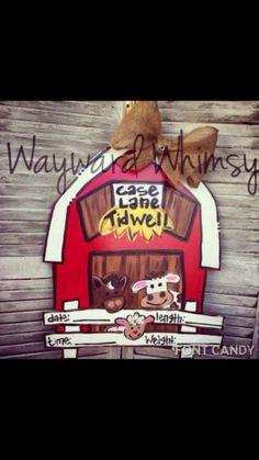 Barn Baby Hospital Door Nursery Wood Cut Out Door Hanger Baby Door Hangers, Hospital Door Hangers, Birth Announcement Sign, Baby Announcements, Baby Zoo Animals, Barnyard Door, Farm Quilt, Farm Nursery, Farm Art