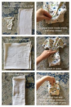 An inexpensive and cute cloth diapering solution using an old cotton onesie and flour sack towel. Use with a waterproof cover or leave cover off to let baby's bottom breathe. Toddler Training Pants, How To Fold Towels, Cloth Nappies, Cloth Diaper Storage, Baby Necessities, Baby Essentials, Disposable Diapers, Flour Sack Towels, Baby Patterns
