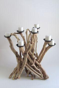 Driftwood Eight Candle Candelabra, Driftwood Centerpiece, Driftwood Candelabra…