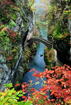Fall at the Areuse Gorge, Neuchatel, Switzerland. Switzerland is such a beautiful place Places Around The World, Oh The Places You'll Go, Travel Around The World, Places To Travel, Places To Visit, Around The Worlds, Adventure Is Out There, Wonders Of The World, Switzerland