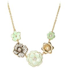 Mint Flower Necklace | Jewelry ($19) ❤ liked on Polyvore