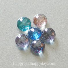 Glass Flat Marble Glitter Magnets - Rare Earth Magnet Used for Extra Strength! Set of by MagnetMenagerie on Etsy Glitter Magnets, Marble Magnets, Glass Magnets, Gem Crafts, Rock Crafts, Crafts To Make, Kids Crafts, Flat Marbles, Sharpie Crafts