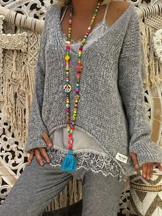 Grey Irregular Deep V-neck Fashion Pullover Sweater