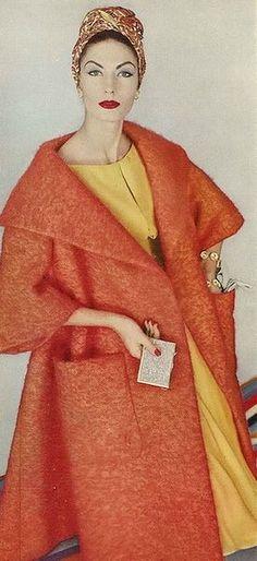 Vogue 1958 Orange Coat and Yellow Dress late mohair wool dramatic swing back coat jacket patch pockets shawl collar model magazine vintage fashion yellow dress turban hat short sleeves Vintage Fashion 1950s, Fifties Fashion, Vintage Couture, Vintage Vogue, Vintage Glamour, Retro Fashion, Moda Retro, Moda Vintage, 50s Vintage