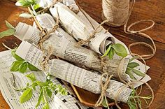 """Want to make a fragrant fire starter? Wrap herbs (Sage, basil and rosemary work well) in a sheet of newspaper and secure the ends with raffia or cotton twine. When you light your fire, the burning herbs will send a lovely aroma through the air."""