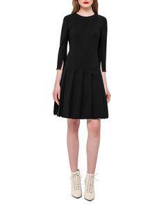 Car+Wash+3/4-Sleeve+Dress,+Black+by+Akris+at+Neiman+Marcus.