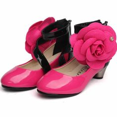 Deep Pink Patent Leather Girls Pageant Party Dancing Heels Shoes SKU-133484