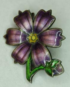 Antique David Andersen Norway Enamel Sterling Silver Flower Brooch Pin Circa 1906