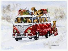 Airedales deliver the Christmas presents in the classic VW camper van. What fun! Pack of 8 cards and envelopes. The envelopes are US size and will post at standard rate. Welsh Terrier, Airedale Terrier, Bull Terrier Dog, Vw Camper, Volkswagen Fox, Dog Art, Dog Breeds, Cute Dogs, Christmas Cards