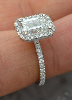 Emerald Cut Engagement, Engagement Ring Cuts, Emerald Cut Rings, Three Stone Rings, Gold Set, Halo Diamond, Diamond Rings, Blue Nile, Or