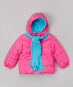 Look what I found on #zulily! Hot Pink & Aqua Scarf Jacket - Infant & Toddler by Pacific Trail #zulilyfinds