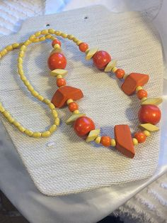 Vintage Chunky Wooden Pale Yellow and Orange Beaded Necklace