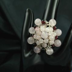Wire crochet ring with garnet and rose quartz Blooming by CatsWire