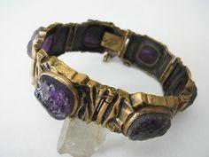 Tolles Armband Bronze + Amethyst Finnland Pentti Sarpaneva